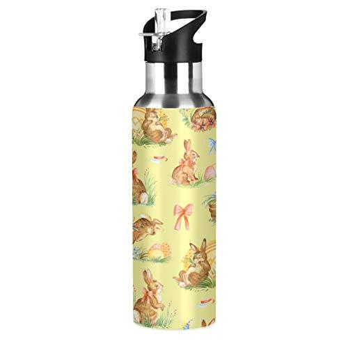 xigua Botella de agua deportiva con pajita, doble pared aislada al vacío de acero inoxidable con mango ancho, 650 ml