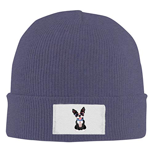 Unisex Skull Beanie Cap - French Bulldog Cuff Knitted Hat - Daily Warm Slouchy Hats Navy