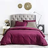 SUSYBAO 3 Piece Duvet Cover Set 100% Natural Cotton Queen Size Marsala Bedding Set 1 Burgundy Duvet Cover with Zipper Ties 2 Pillow Shams Solid Color Luxury Quality Soft Breathable Comfortable Durable