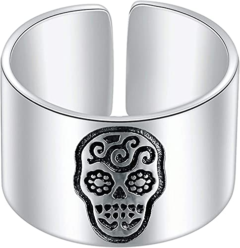 XKUN Unisex 925 Silver Skull Slight Snoils Anillos, Anillo De Moda De Anillo Abierto JoyeríA Simple Fresca Pulida-A