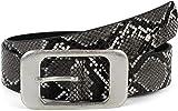styleBREAKER cinturón de mujer en óptica de piel de serpiente con una gran hebilla rectangular, acortable 03010101, tamaño:100cm, color:Gris-Negro