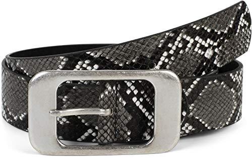 styleBREAKER Damen Gürtel in Schlangen Optik mit großer rechteckiger Schnalle, kürzbar 03010101, Größe:90cm, Farbe:Grau-Schwarz