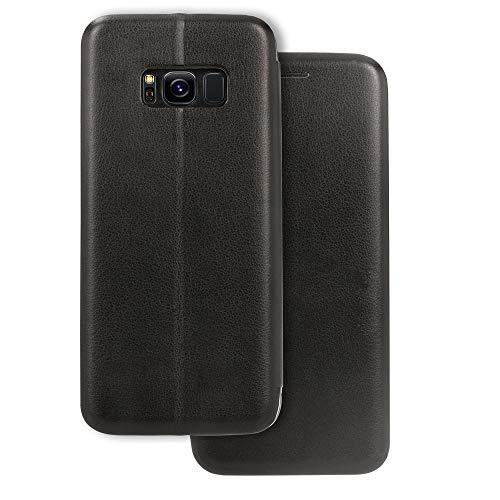 NALIA Klapphülle kompatibel mit Samsung Galaxy S8, Slim Handy-Hülle Flip-Case Kunst-Leder Vegan Cover mit Magnet, Etui Ganzkörper Schutz Dünne Hinten Vorne Rundum Handy-Tasche Bumper - Schwarz
