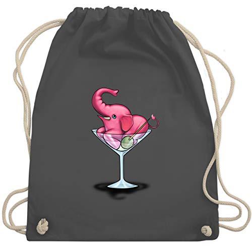 Comic Shirts - Rosa Elefant - Martini - Unisize - Dunkelgrau - turnbeutel elefant - WM110 - Turnbeutel und Stoffbeutel aus Baumwolle