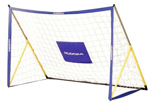 HUDORA Fußball faltbares Fußballtor, 180 x 120 x 90 cm, 25 mm Rohrdurchmesser, blau Gelb, 76995