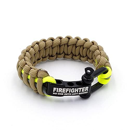 LIFE IS SIMPLE | Paracord Survival Armband | Firefighter gelb, grau | Verstellbarer Verschluss | für Outdoor, Camping, Wandern