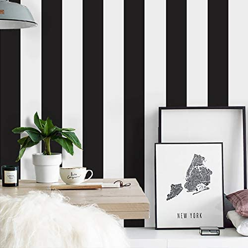 Stripe Peel and Stick Wallpaper Black and White Wallpaper 118 17 7 Removable Wallpaper Self product image