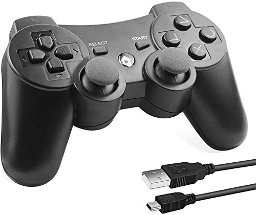 Lunriwis Wireless Controller für PS3, Bluetooth Game Controller Joystick Gamepad Playstation 3 Dual-Vibration 6-Achsen USB Controller Wireless Joypad