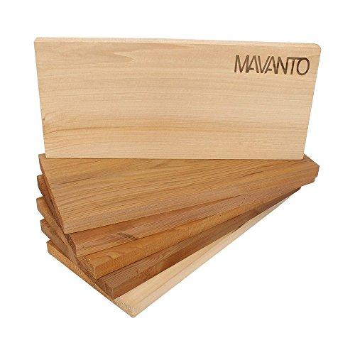 41yU+MCfuWL - MAVANTO® XXL Grillbretter Räucherbretter - Kanadisches Zedernholzbrett zum Grillen - EXTRA DICK (30x14x1,5cm) langlebig & wiederverwendbar (6er Set)
