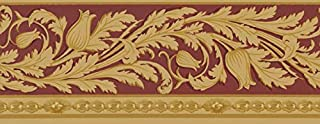 Waverly Sonoma Valley Collection Wall Border 5509440 Burgundy Arts and Crafts Vine Wallpaper Mission Stylized Trailing Vine Yellow Gold on Red Home Decor