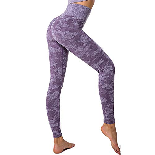 SotRong Mujer Pantalones Mallas Fitness Elásticos Impresión Pantalones de Yoga de Camuflaje Gym Slim Fit Pantalones Largos Leggings Cintura Alta Deportivos Running Fitness Pantalon Morado XL
