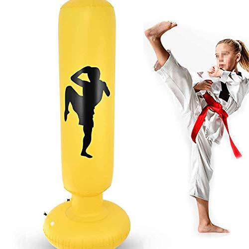 Columna de boxeo inflable, 150 cm, vaso de soplado de ventilación para ejercicios, bolsa de boxeo de perforación para ejercicios, columna de combate de cristal transparente para niños y adultos