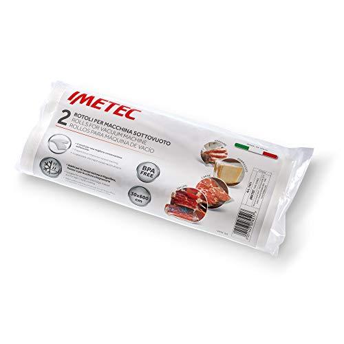 Imetec VM2 50 Set 2 Rotoli per Macchina Sottovuoto, 30 x 600 cm, BPA Free, Made in Italy
