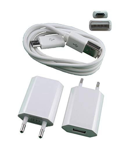USB Netztteil Adapter mit Premium USB Ladekabel weiß für Samsung, LG, HTC, Kameras. alle mit Micro-USB