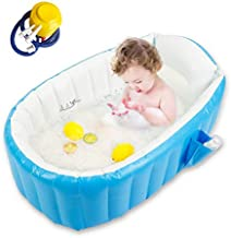 Baby Inflatable Bathtub, Goodking Portable Infant Toddler Bathing Tub Non Slip Travel Bathtub Mini Air Swimming Pool Kids Thick Foldable Shower Basin with Air Pump, Blue