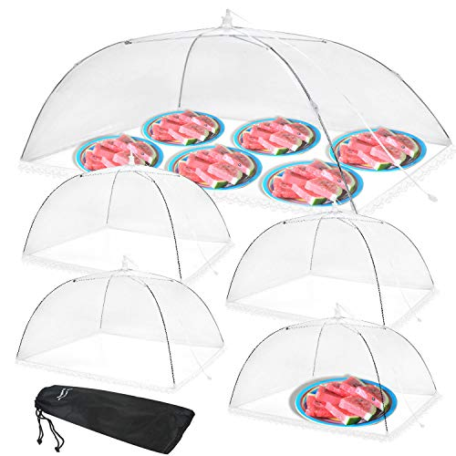 """Anpro Food Cover Food Tent- Pop-up Food Nets, 1 Extra Large (40""""X24"""") & 4 Standard (17""""X17"""") Mesh Food Covers for Outside, Picnic Accessories, Reusable and Collapsible, 5 Pack"""