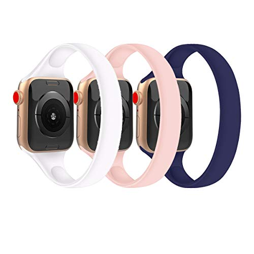 (3 Pack) Slim Thin Strap Compatible with Apple Watch Band 38mm 40mm 42mm 44mm Solo Loop Stretchy Silicone Women Men Elastic Narrow Sport Soft Replacement Wristband for iWatch Series SE/6/5/4/3/2/1