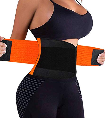 VENUZOR Waist Trainer Belt for Women - Waist Cincher Trimmer - Slimming Body Shaper Belt - Sport Girdle Belt (UP Graded)(Orange,Large)