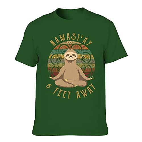 Camiseta de hombre estilo vintage perezoso, 6 pies de distancia de presión, blusa casual Dark Green001. S