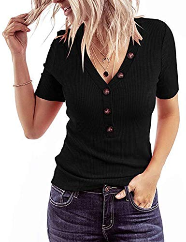 MEROKEETY Women's Short Sleeve V Neck Ribbed Button Tops Basic Solid Color Tee Shirts, Black, XL