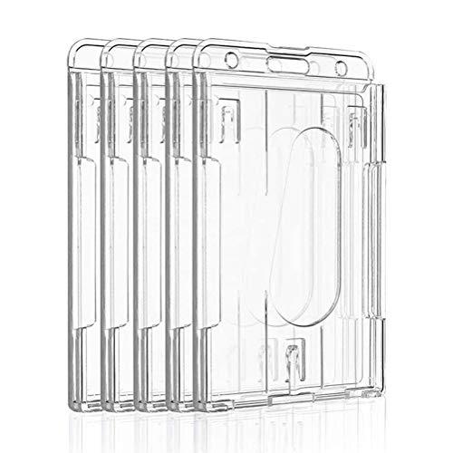 Porta badge trasparente con fessura per espulsione, 5 pezzi, porta badge verticale con 2 scomparti per carte di credito, in plastica trasparente, con slot per pollice