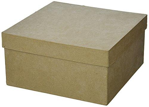 of darice box sets Darice, Square Paper Mache Box with Lid, 9x9x4 inch, Natural