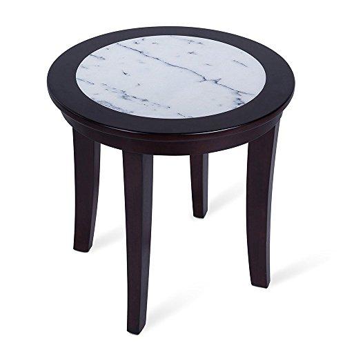 Olee Sleep Couchtisch/Beistelltisch/Beistelltisch aus natürlichem Marmor, rund, aus massivem Holz, Bürotisch, Computertisch, Esstisch, Weiß und Espresso
