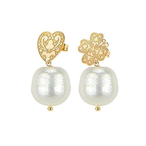Pendientes Lebole trébol corazón perla cultivada blanca plata oro colección Gótico CFLEZFM