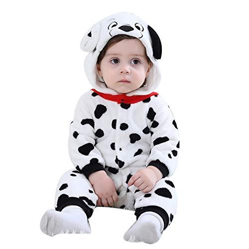 LSERVER Mameluco de Cosplay para Bebés Recién Nacidos Ropa de Arrastre Disfraz Unisexo de Franela con Capucha Estilo Animales, Perro con Lunares, 90 (Altura Recomendada:73-80cm)