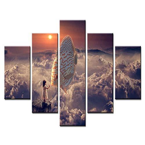 Aicedu kunstdrukken op canvas, modulaire afbeelding, 5-delig, wolken uit de zee op wolk, meisjes, kleur vis, modern, decoratief, voor huis en oven L-30x40 30x60 30x80cm Frame