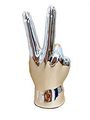 TrendHome Deko Skulptur Deko Figuren Für Wohnzimmer Silber Poliert Hand Kunstobjekt Mit Peace Symbol Moderne Fensterbank Regal Dekoration Statue