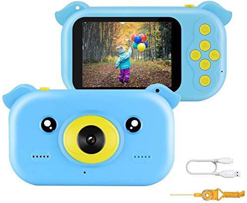 JAMSWALL Cámara Fotos Infantil, Cámara para Niños Cámara de Videojuegos de Alta Definición de Juguete Ultradelgada de 12 MP, con Mini SLR de 2.4 Pulgadas 1080P Regalo Creativo para Niño y Niña, Azul