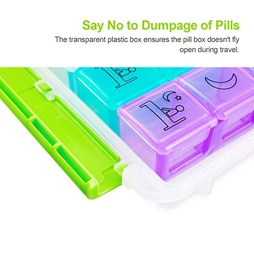 AUVON iMedassist Weekly AM/PM Pill Box, 2nd Gen Portable Travel Pill Organizer (7-Day / 4-Times-A-Day) with Moisture-Proof Design and Large Compartments to Hold Vitamins, Supplements and Medication