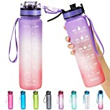 NeBaee 32oz / 24oz Motivational Tritan Water Bottle with Time Marker,BPA-Free,Leak Proof,Fruit Ice Cube Infuser for Fitness Gym and Outdoor Activities (32oz, 32ozPurple-red)