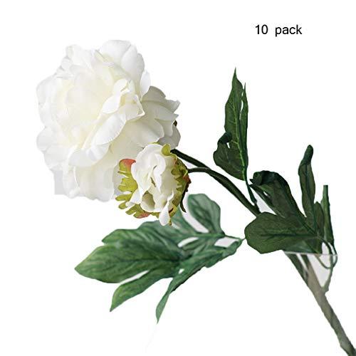 Sarazong Simulation Pivoine Fleur Salon Ameublement décoratif Floral Faux Fleur Bourgeon Fleur Artificielle Fleur Bouquet Fleur Faux Fleur Haute Qualité Fleur,White