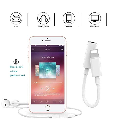 Sounce 3.5 mm Headphone Jack Adapter Connector Only Supported Music Control Audio Adapter for Phone Xs MAX/XR/X/8/7/Plus/6S/6/SE/5S/5C/Pad/and More