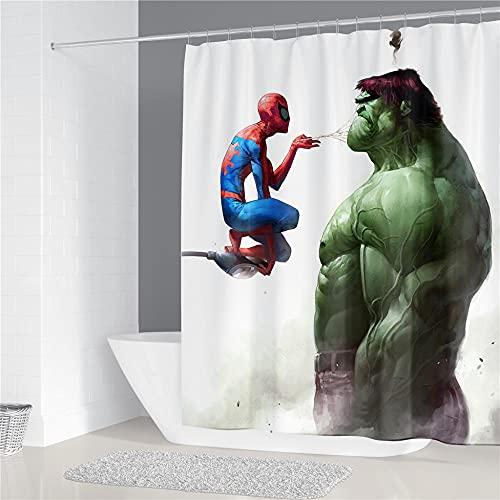 Doublure en Rideau de Douche Salle de Bain décorative imperméable à l'eau avec 12 Crochets Résistant au mildiou Rideau de Salle de Bain Hulk Spiderman 180x200cm