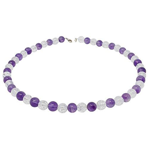 Kette Collier Amethyst & Bergkristall 925 Sterling Silber weiß lila violett Halskette für Damen