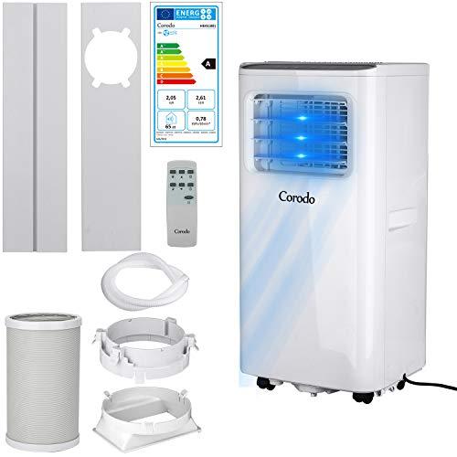 Corodo 5000 BTU Mobiles Klimagerät - Luftkühler, Ventilator, Luftentfeuchter, Nachtmodus - Mobile Klimaanlage mit Energieklasse A, Fensterabdichtung Set, Fernbedienung und 24h Timer