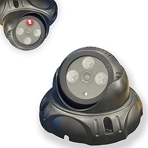 Simulated Surveillance Cameras, Dummy Security Camera,Fake Security Camera CCTV Fake Dome Camera with Realistic Look Recording Red LED Light Indoor and Outdoor Use