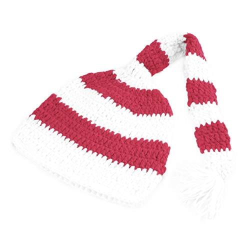Sunnyflowk Baby Girl Boy Weihnachtsmütze Häkeln Strick Foto Fotografie Prop Hat Cap Weihnachtsdekoration (rot weiß)