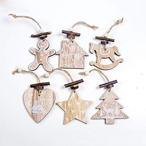 KPMLL Ornamenti Alberi Natale 6pz Pendenti in Legno per Albero di Natale in Pentagramma con Pendenti per Albero di Natale
