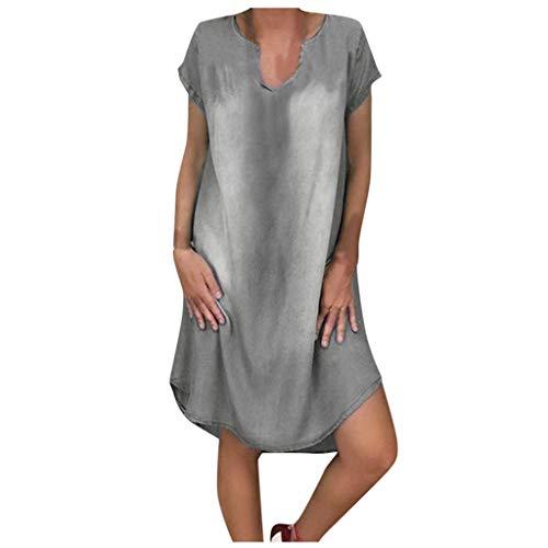 EUCoo - Vestido largo de mezclilla para mujer, falda de columpio, informal, con cuello redondo, bolsillo de lino