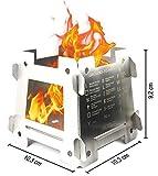 JEO-TEC Outdoor fornelletto fornello fornellino - Solo 5 Pezzi - 100% accacio Inox - Efficace, Robusto, Semplice, leggerissimo - Accessorio di Campeggio - Fatto in Spagna