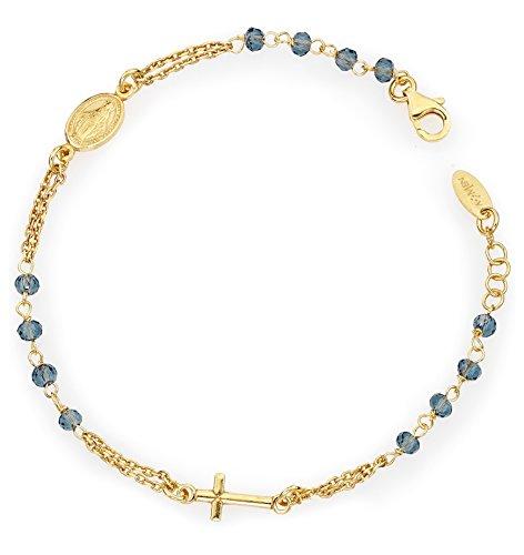 Pulsera Rosario de plata 925con cristales azules, colección Amen
