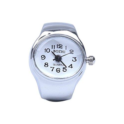 SODIAL(R) Uhr Quarzwerk ovaler Ring Legierung Dekor Frau Weiss