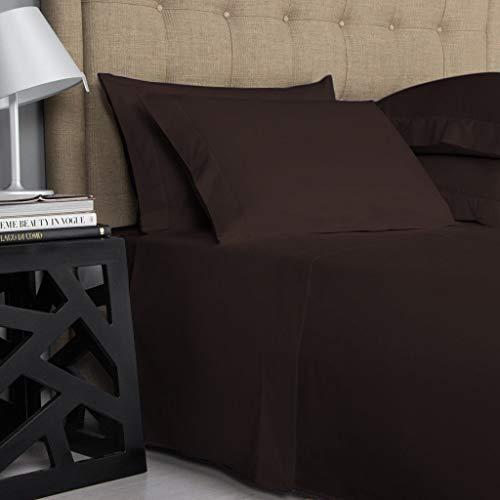 Calico Linen Juego de 4 piezas color chocolate liso Emperor tamaño incluye 1 sábana bajera ajustable de 40 cm de profundidad, 1 sábana encimera, 2 fundas de almohada de 450 hilos.