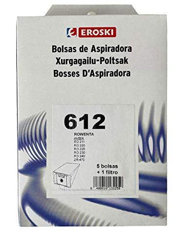 Eroski 5 bolsas de aspiradora + 1 filtro para Rowenta Nº 612 compatible con Swirl R32