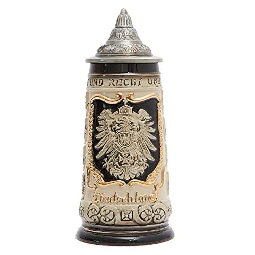 Amoy-Art Jarra de Cerveza Alemana Deutschland águila Imperial Stein Mug para Cumpleaños Regalo Hombre Padre Esposo 0.8Litre