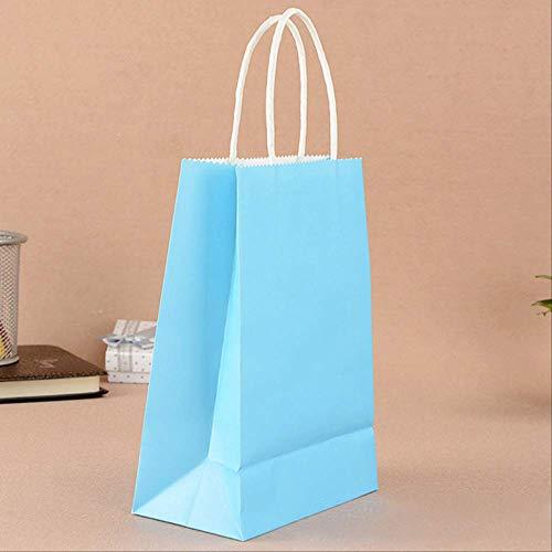 FHFF Kraft Papieren Tas 1Pc Bruiloft Snoep Verpakking Recycleerbare Sieraden Voedsel Brood Party Tassen Boutique Kraft Papier Geschenktassen 21X17X27Cm Hemel Blauw